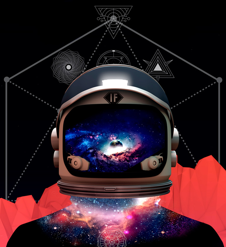 Space helmet with sytlized galaxy imagery in the background