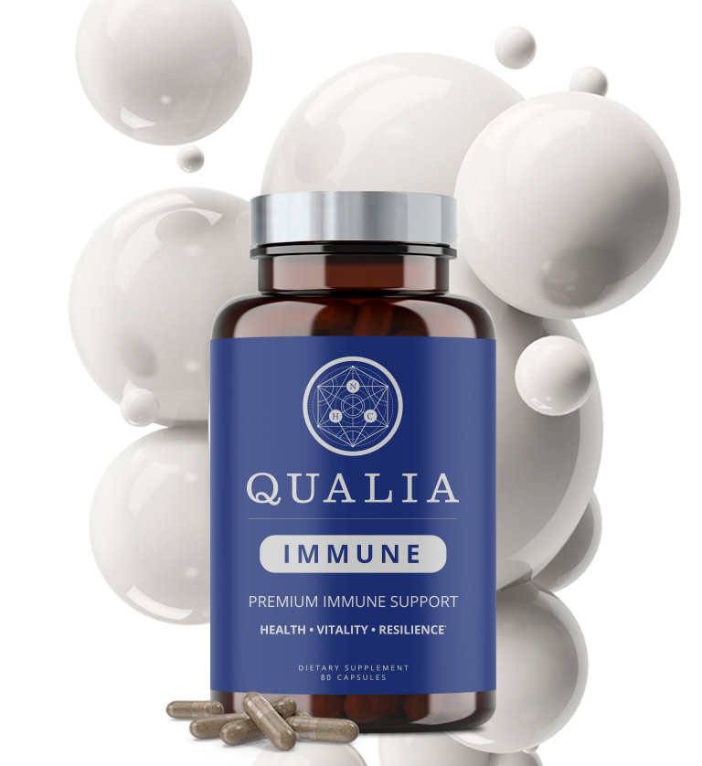 Qualia Immune Bottle, with white bubble background.