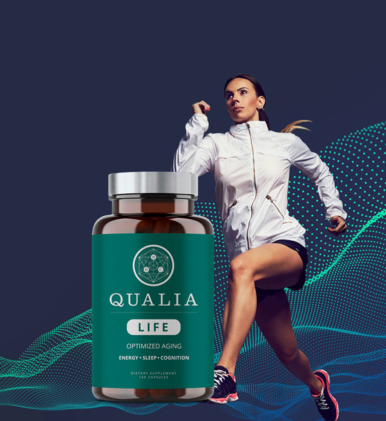 Qualia Life Bottle with Female Runner in the Background